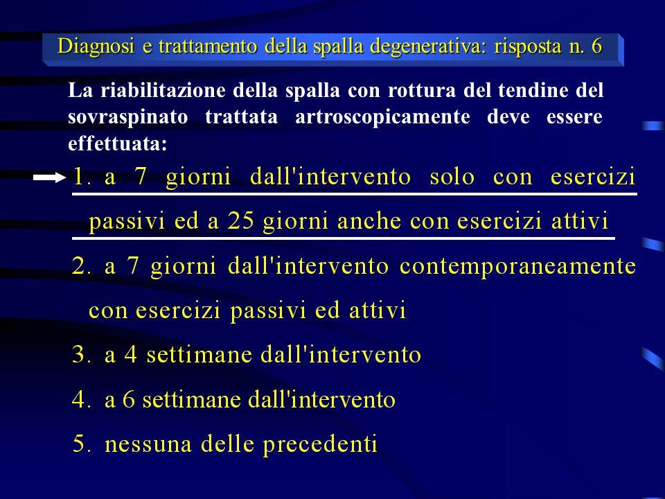 Diagnosi e trattamento della spalla degenerativa: risposta n. 6