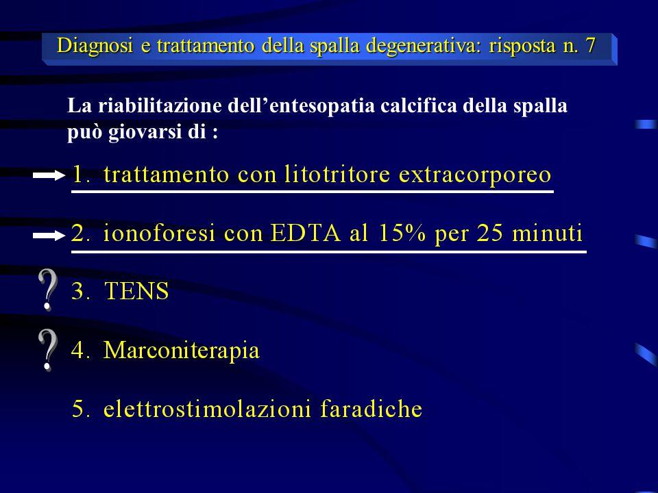 Diagnosi e trattamento della spalla degenerativa: risposta n. 7