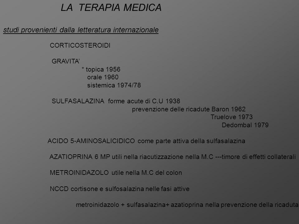 LA TERAPIA MEDICA studi provenienti dalla letteratura internazionale