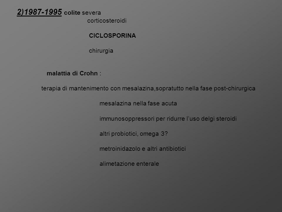 2)1987-1995 colite severa corticosteroidi CICLOSPORINA chirurgia