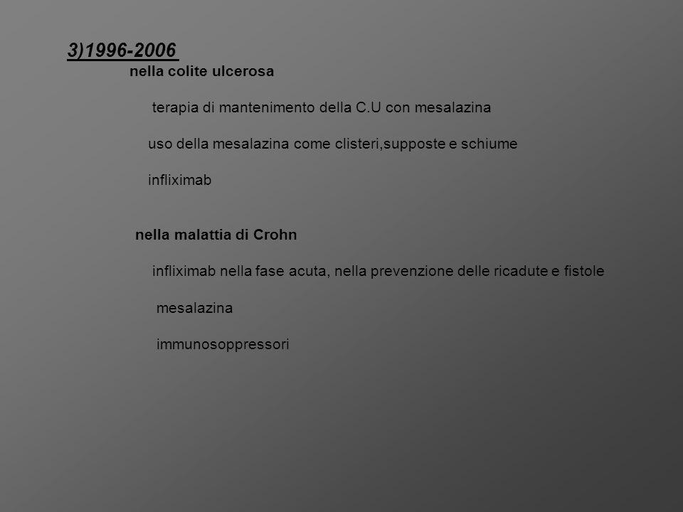 3)1996-2006 terapia di mantenimento della C.U con mesalazina