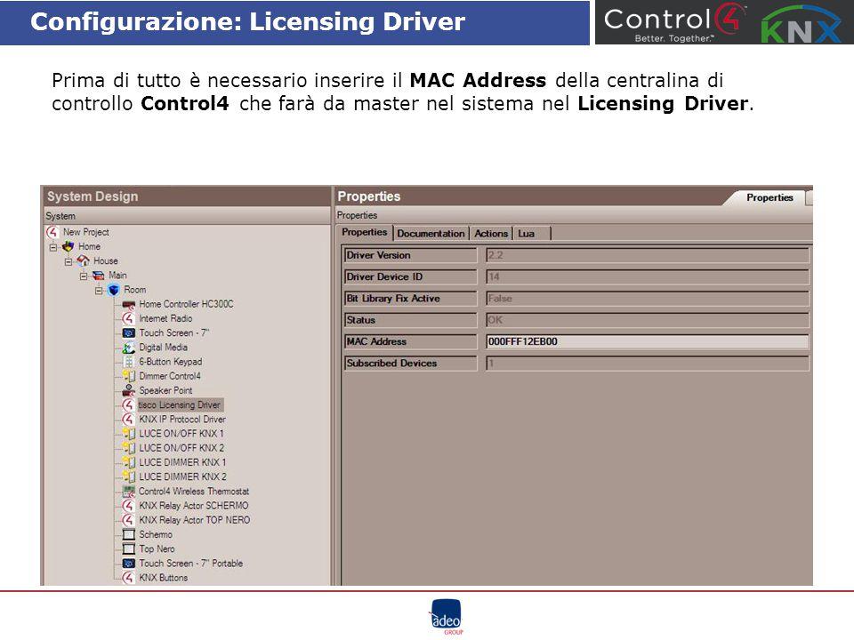 Configurazione: Licensing Driver