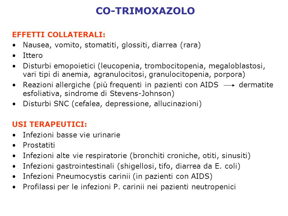 CO-TRIMOXAZOLO EFFETTI COLLATERALI: