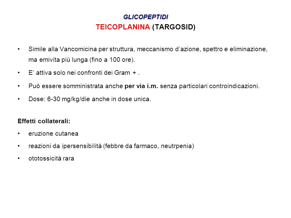 TEICOPLANINA (TARGOSID)
