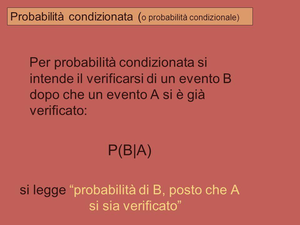 Probabilità condizionata (o probabilità condizionale)