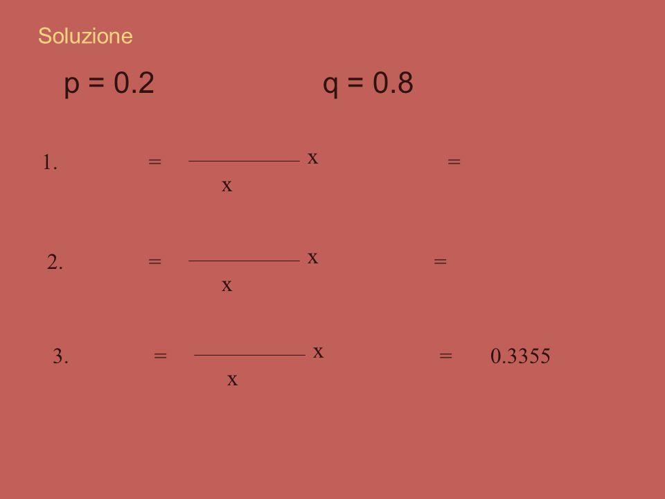 p = 0.2 q = 0.8 Soluzione P(2) = 8! 2! x (8 - 2)! x 0.22 0.8 6 1. =