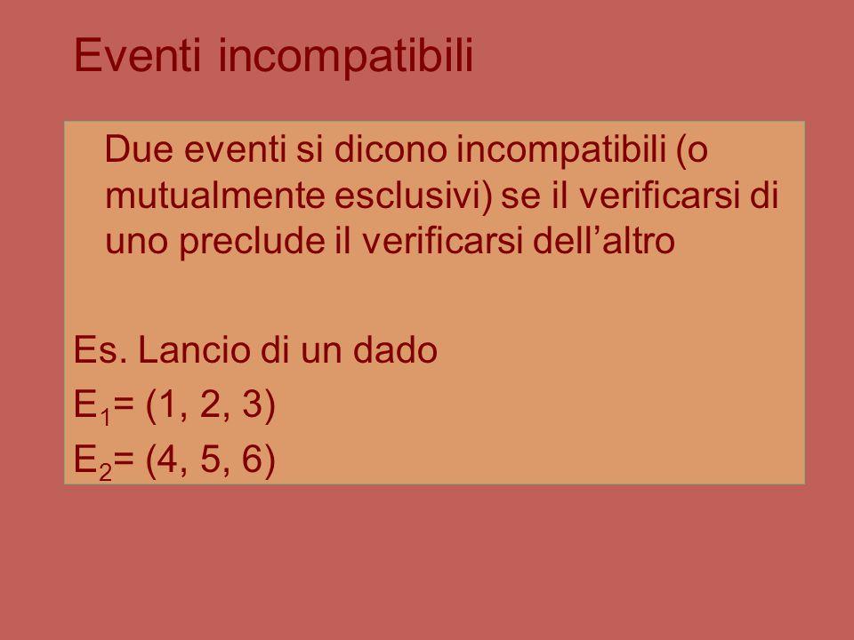 Eventi incompatibili Due eventi si dicono incompatibili (o mutualmente esclusivi) se il verificarsi di uno preclude il verificarsi dell'altro.
