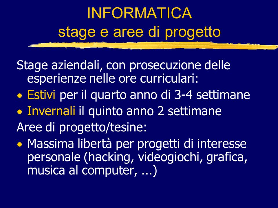 INFORMATICA stage e aree di progetto