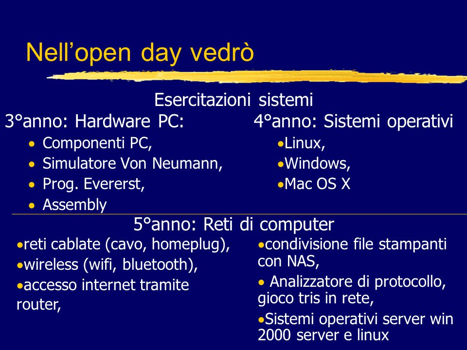 Nell'open day vedrò Esercitazioni sistemi 3°anno: Hardware PC:
