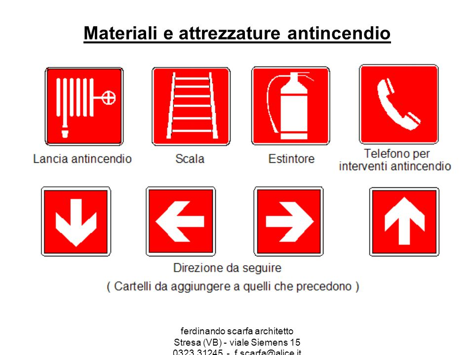 Materiali e attrezzature antincendio