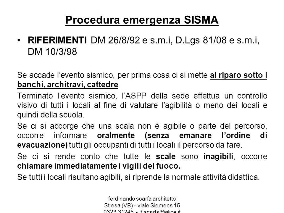 Procedura emergenza SISMA