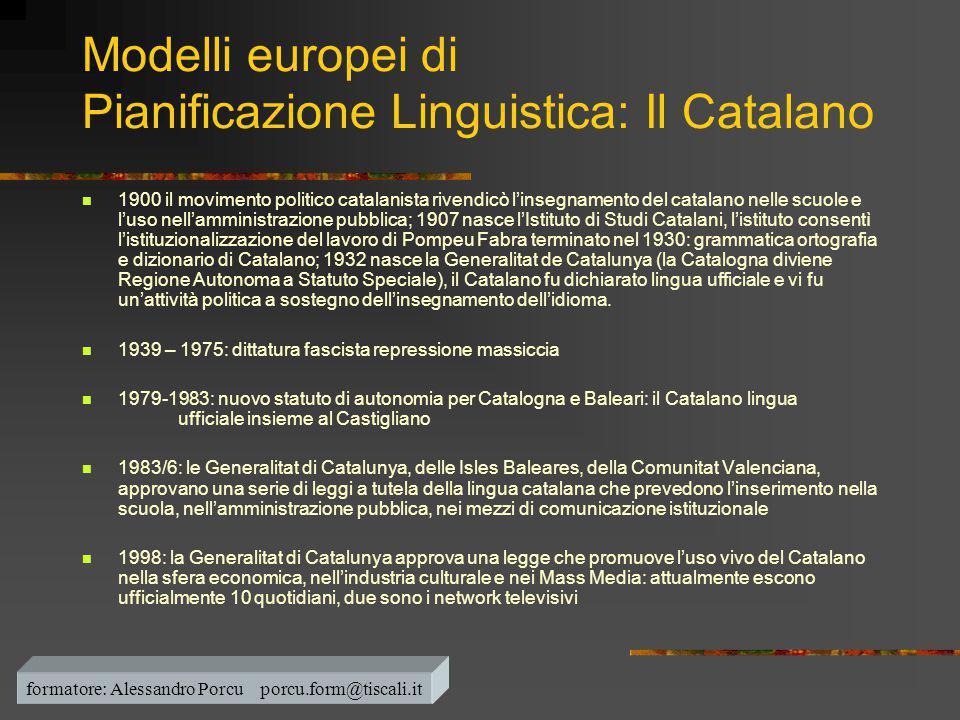Modelli europei di Pianificazione Linguistica: Il Catalano