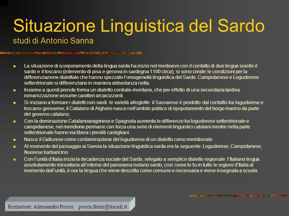 Situazione Linguistica del Sardo studi di Antonio Sanna