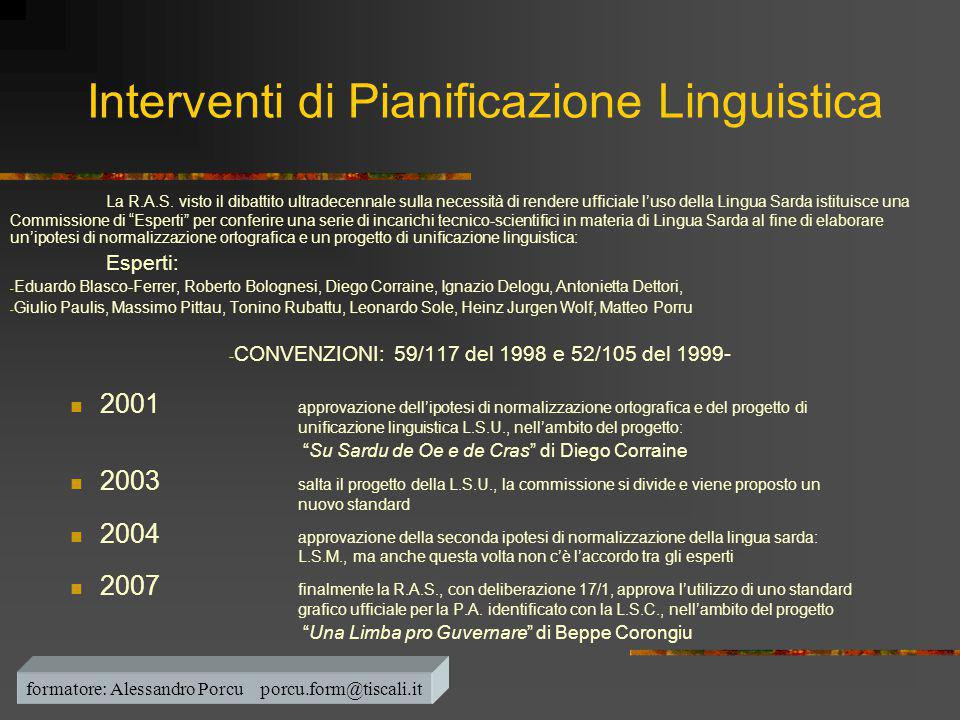 Interventi di Pianificazione Linguistica