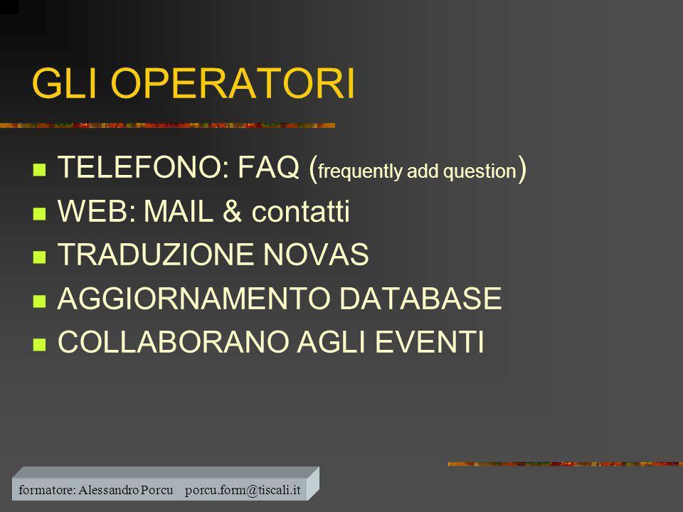 formatore: Alessandro Porcu porcu.form@tiscali.it