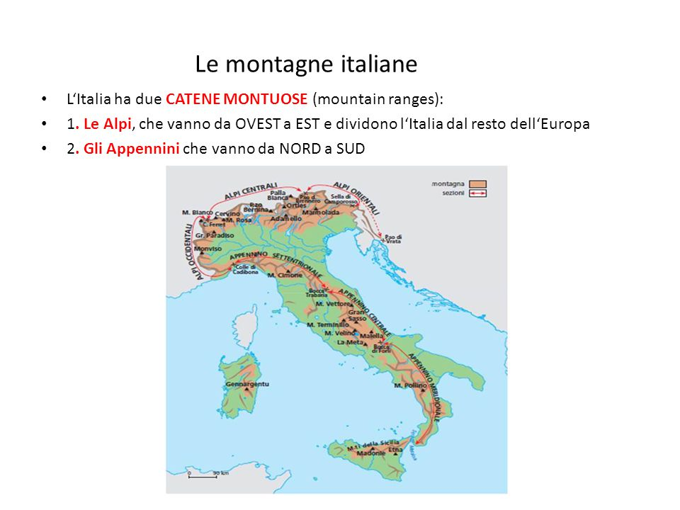 Le montagne italiane L'Italia ha due CATENE MONTUOSE (mountain ranges):