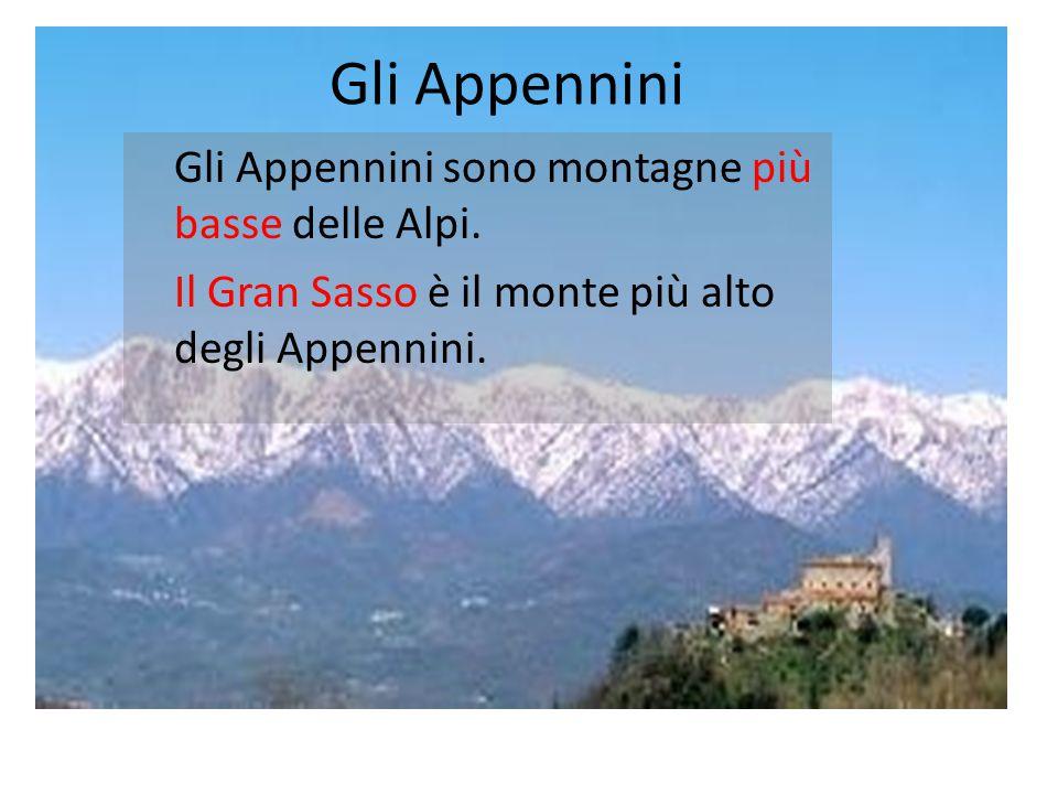 Gli Appennini Gli Appennini sono montagne più basse delle Alpi.
