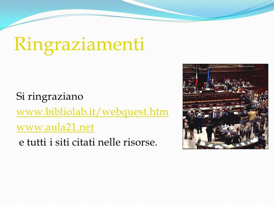 Ringraziamenti Si ringraziano www.bibliolab.it/webquest.htm www.aula21.net e tutti i siti citati nelle risorse.