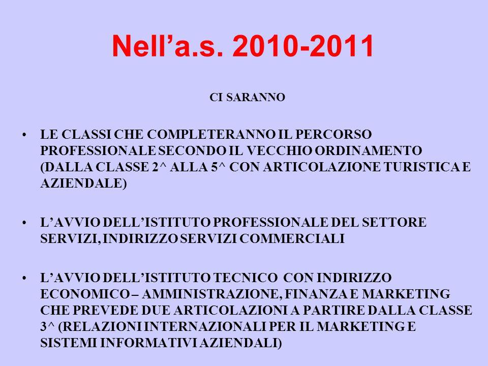 Nell'a.s. 2010-2011 CI SARANNO.