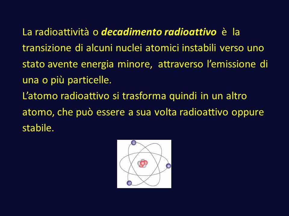 La radioattività o decadimento radioattivo è la transizione di alcuni nuclei atomici instabili verso uno stato avente energia minore, attraverso l'emissione di una o più particelle.