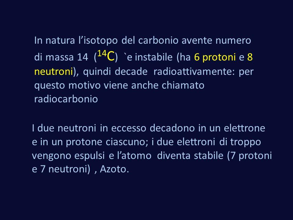 In natura l'isotopo del carbonio avente numero di massa 14 (14C) `e instabile (ha 6 protoni e 8 neutroni), quindi decade radioattivamente: per questo motivo viene anche chiamato radiocarbonio