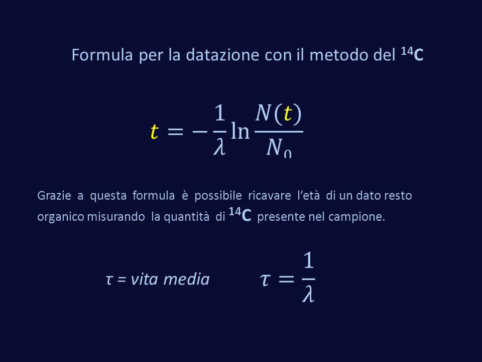 Formula per la datazione con il metodo del 14C