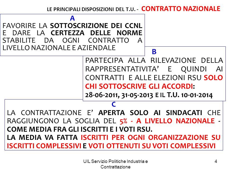 LE PRINCIPALI DISPOSIZIONI DEL T.U. - CONTRATTO NAZIONALE