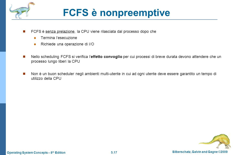 FCFS è nonpreemptive FCFS è senza prelazione, la CPU viene rilasciata dal processo dopo che. Termina l'esecuzione.