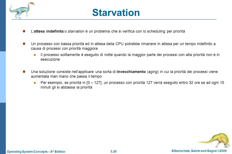 Starvation L'attesa indefinita o starvation è un problema che si verifica con lo scheduling per priorità.