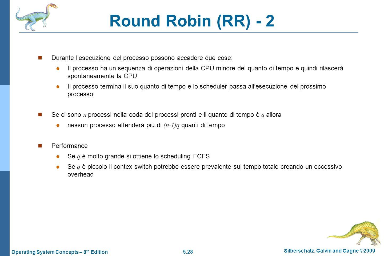 Round Robin (RR) - 2 Durante l'esecuzione del processo possono accadere due cose: