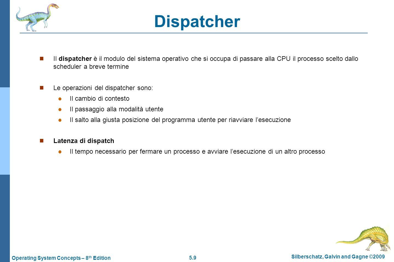 Dispatcher Il dispatcher è il modulo del sistema operativo che si occupa di passare alla CPU il processo scelto dallo scheduler a breve termine.