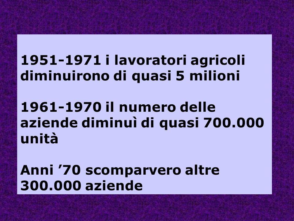 1951-1971 i lavoratori agricoli diminuirono di quasi 5 milioni