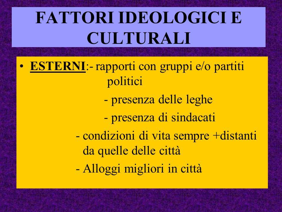 FATTORI IDEOLOGICI E CULTURALI