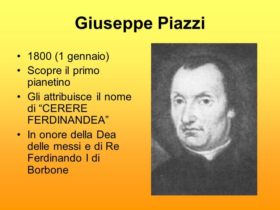 Giuseppe Piazzi 1800 (1 gennaio) Scopre il primo pianetino