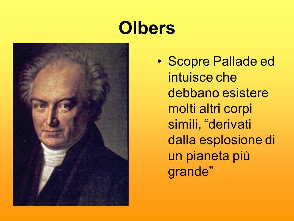 Olbers Scopre Pallade ed intuisce che debbano esistere molti altri corpi simili, derivati dalla esplosione di un pianeta più grande