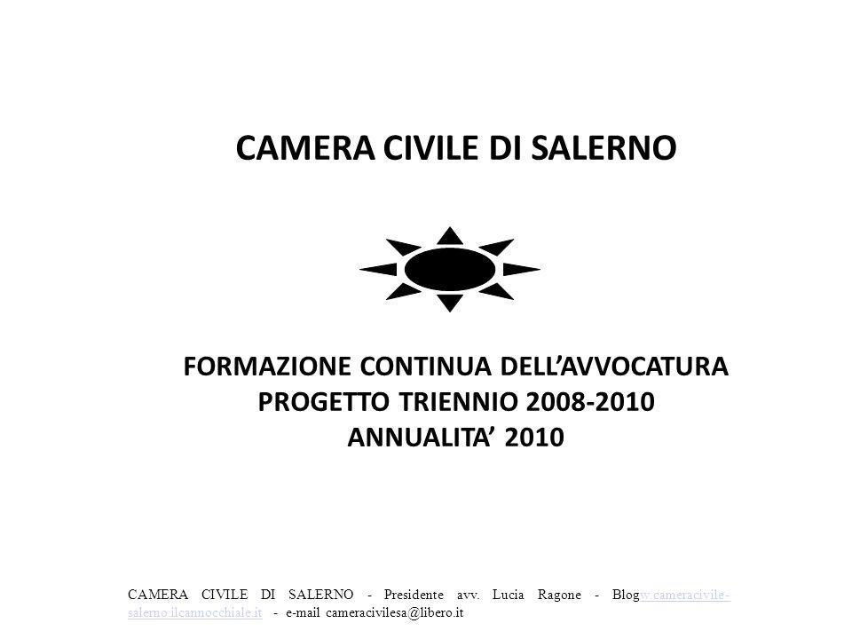 CAMERA CIVILE DI SALERNO FORMAZIONE CONTINUA DELL'AVVOCATURA PROGETTO TRIENNIO 2008-2010 ANNUALITA' 2010