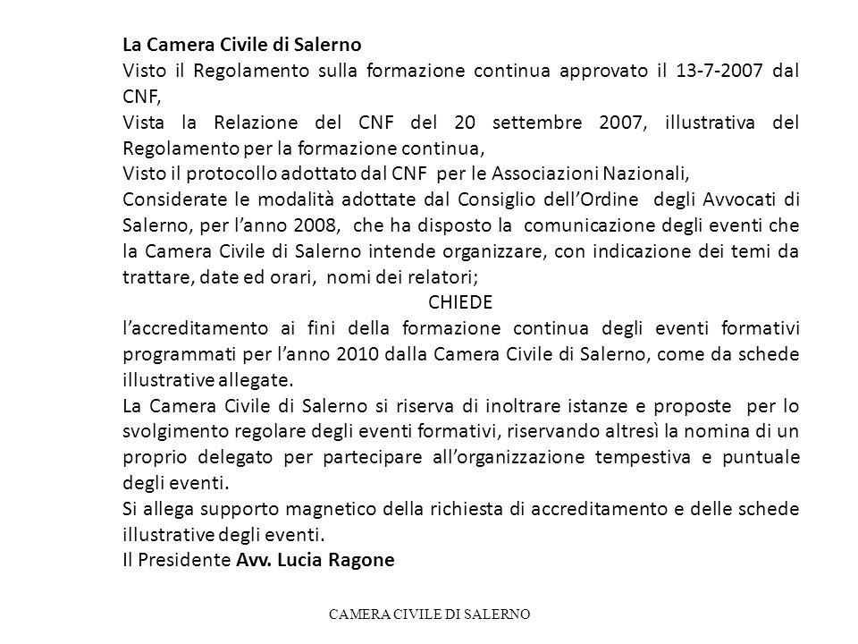 CAMERA CIVILE DI SALERNO