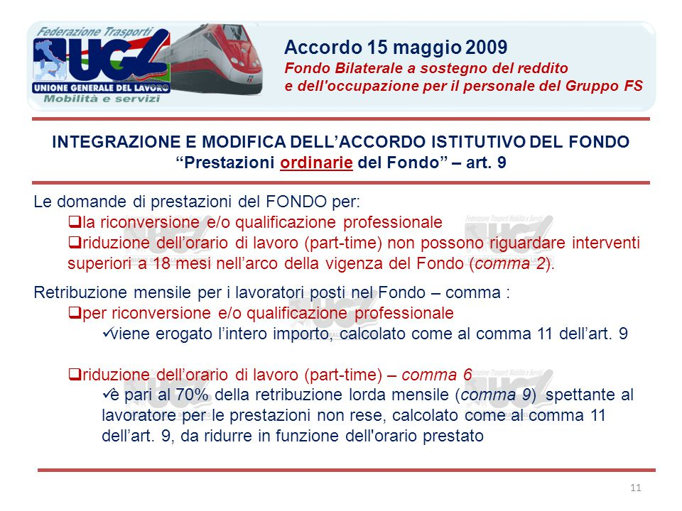 Prestazioni ordinarie del Fondo – art. 9