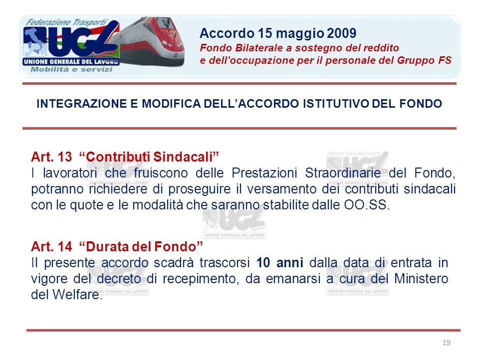 INTEGRAZIONE E MODIFICA DELL'ACCORDO ISTITUTIVO DEL FONDO