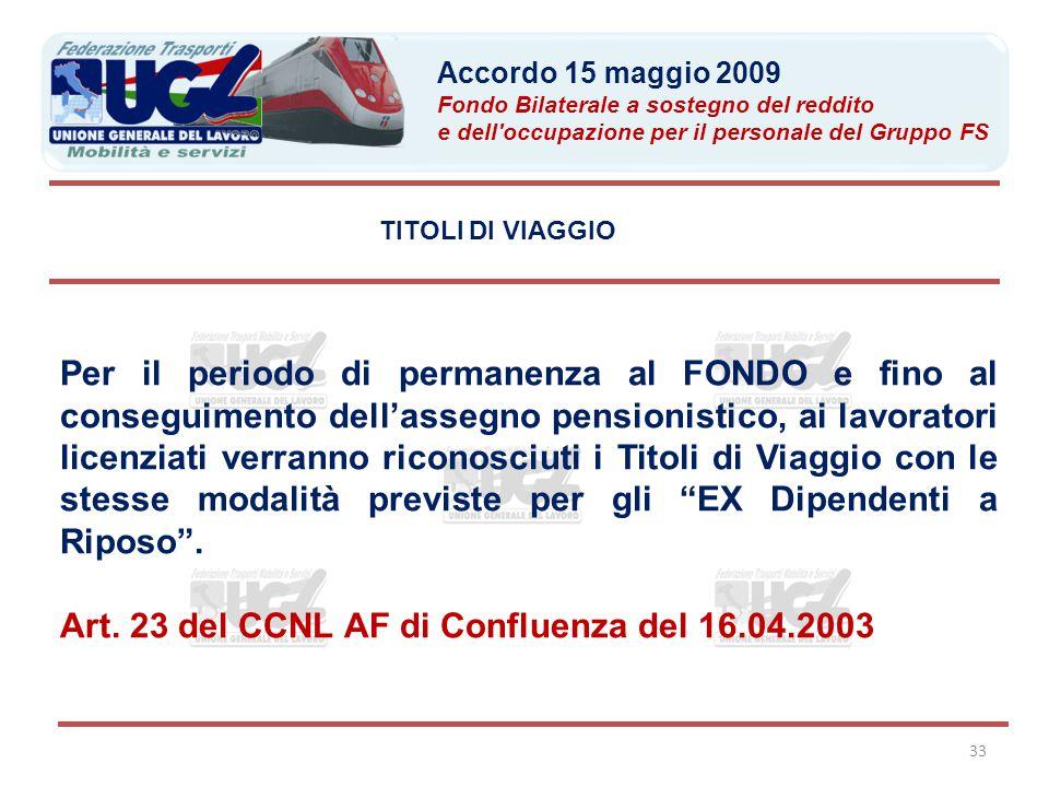 Art. 23 del CCNL AF di Confluenza del 16.04.2003