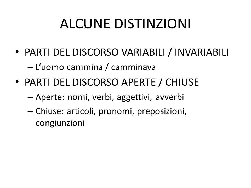 ALCUNE DISTINZIONI PARTI DEL DISCORSO VARIABILI / INVARIABILI