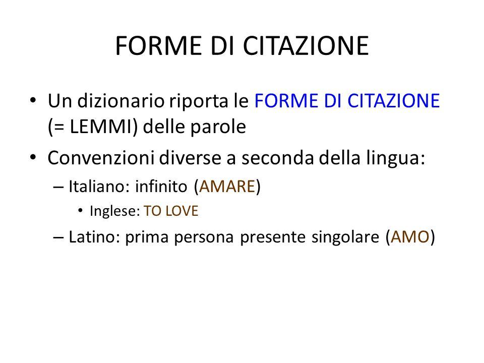 FORME DI CITAZIONE Un dizionario riporta le FORME DI CITAZIONE (= LEMMI) delle parole. Convenzioni diverse a seconda della lingua: