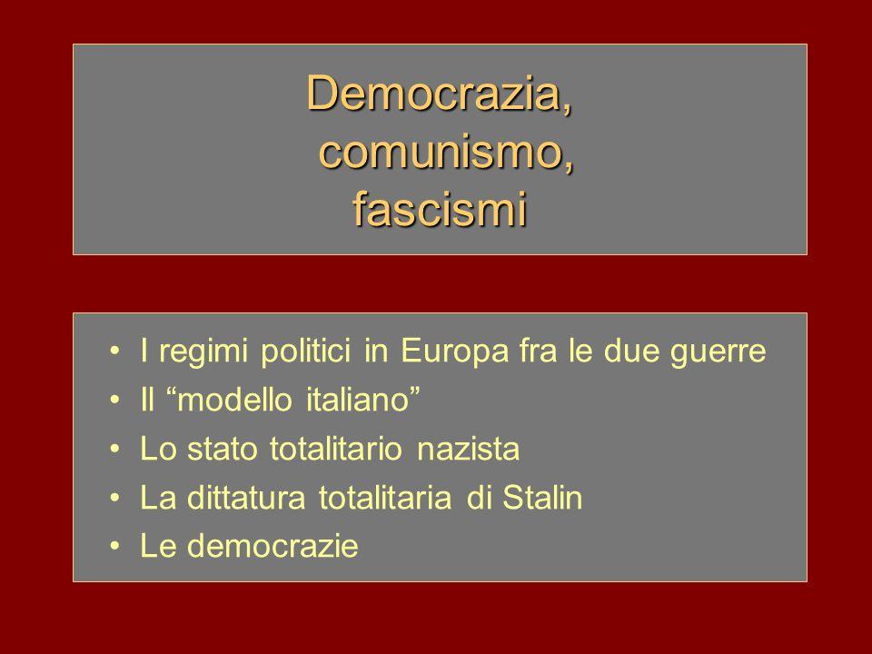 Democrazia, comunismo, fascismi
