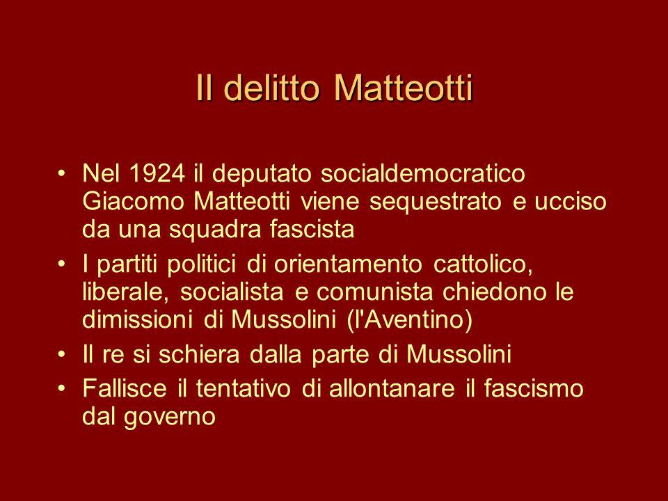 Il delitto Matteotti Nel 1924 il deputato socialdemocratico Giacomo Matteotti viene sequestrato e ucciso da una squadra fascista.