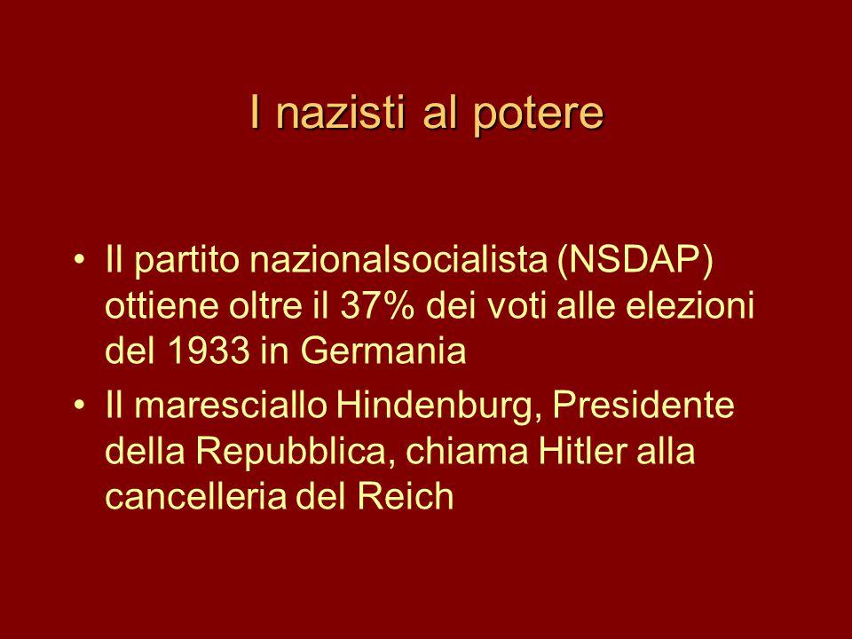 I nazisti al potere Il partito nazionalsocialista (NSDAP) ottiene oltre il 37% dei voti alle elezioni del 1933 in Germania.