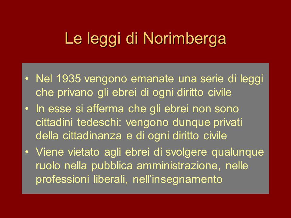 Le leggi di Norimberga Nel 1935 vengono emanate una serie di leggi che privano gli ebrei di ogni diritto civile.