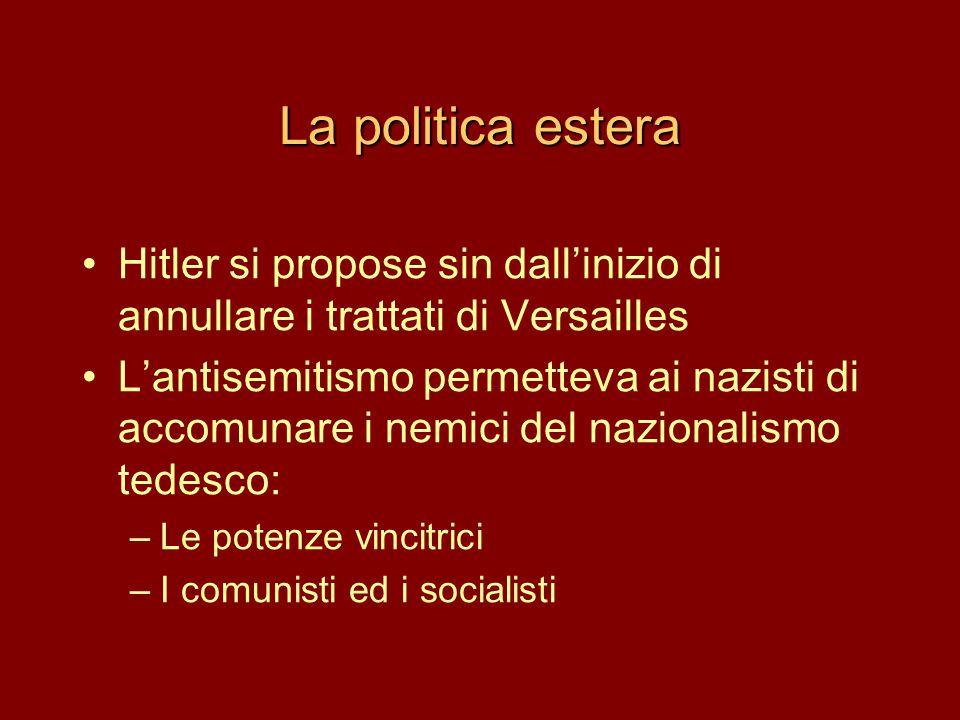 La politica estera Hitler si propose sin dall'inizio di annullare i trattati di Versailles.