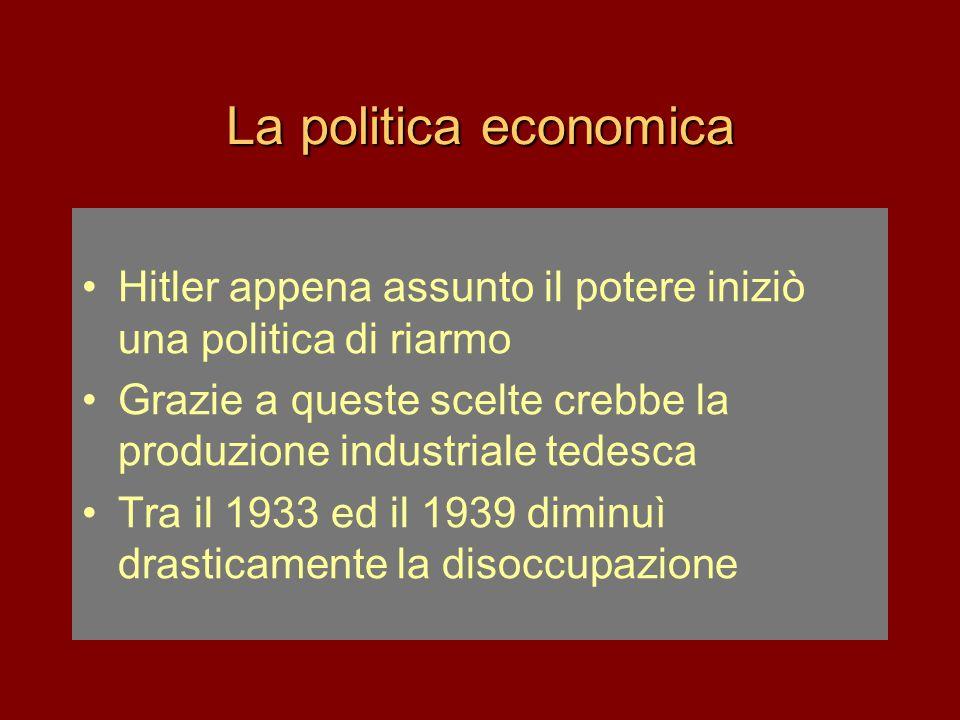 La politica economica Hitler appena assunto il potere iniziò una politica di riarmo. Grazie a queste scelte crebbe la produzione industriale tedesca.