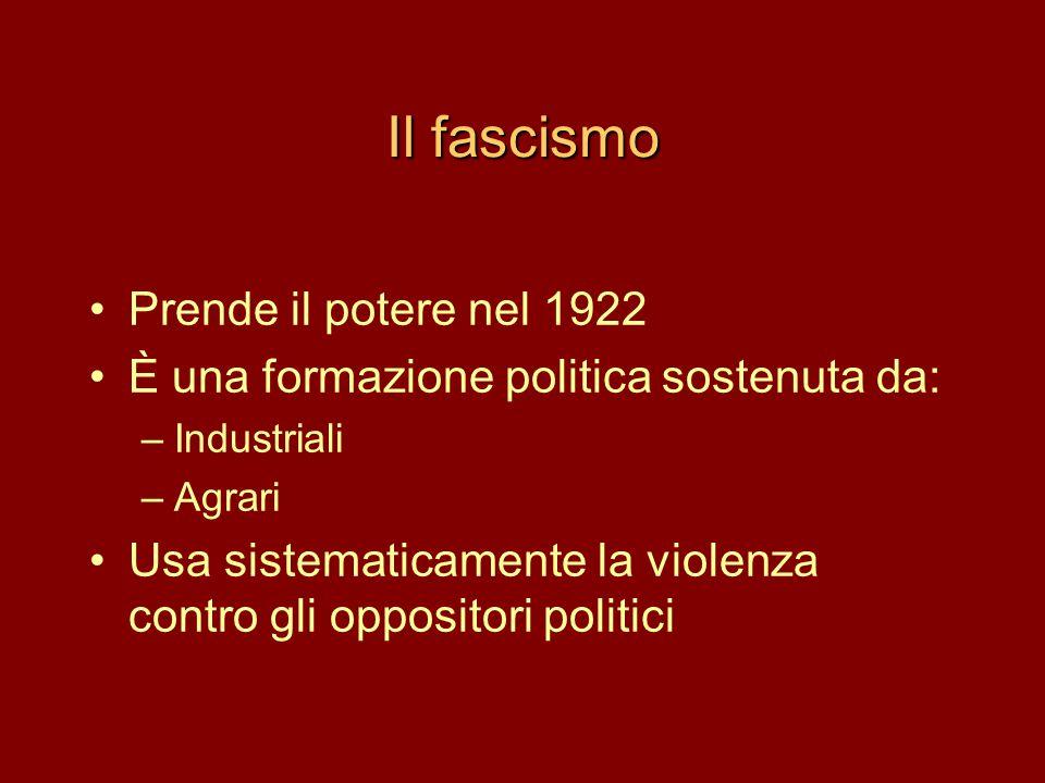 Il fascismo Prende il potere nel 1922