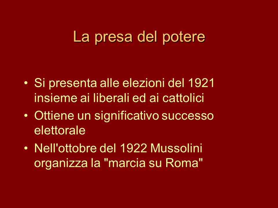 La presa del potere Si presenta alle elezioni del 1921 insieme ai liberali ed ai cattolici. Ottiene un significativo successo elettorale.